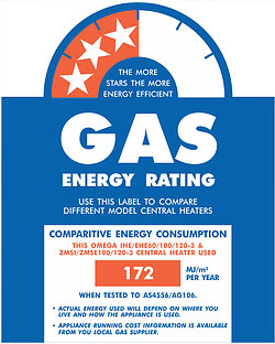 gas energy rating of Omega's 3 star gas ducted heating unit